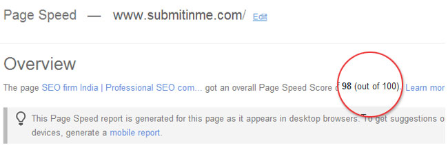 Page speed service
