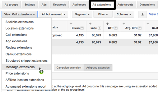 Set up Google Adwords Message extension