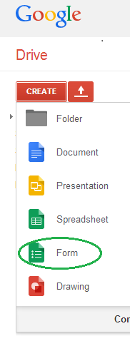 creating form in Google drive