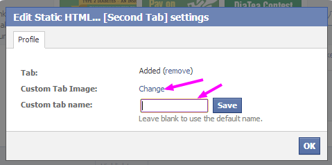 changing facebook tab name and image