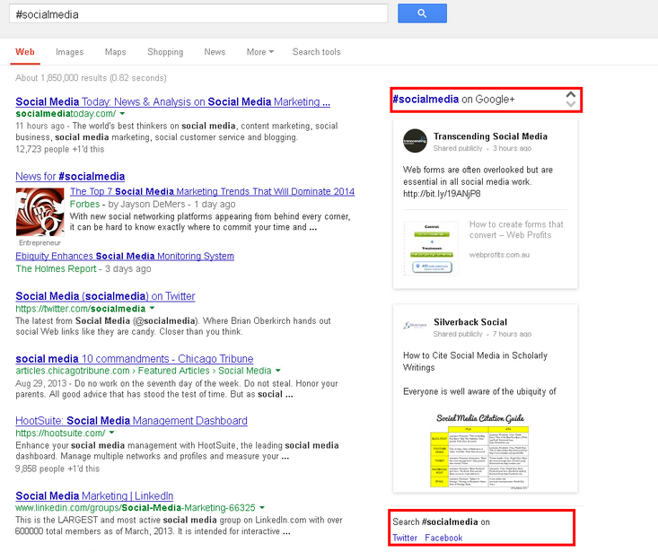 #Hashtags on Google Search Results