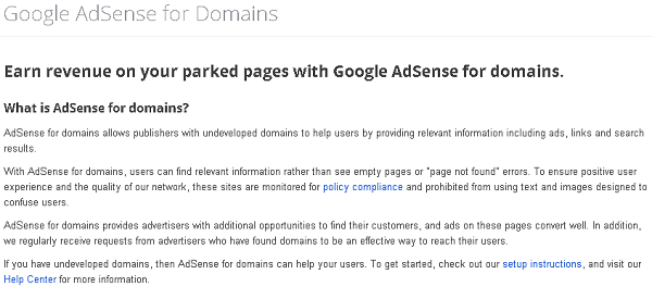 Google parked domain page