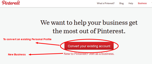 Pinterest Business Page Signup