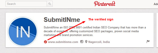 Verified Pinterest Profile