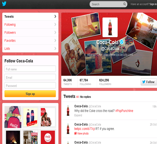 coca cola twitter page