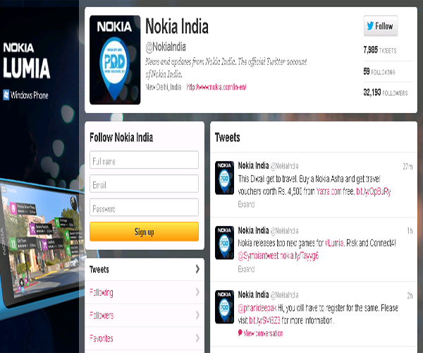Nokia – India Twitter page