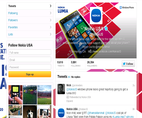 Nokia – US Twitter page