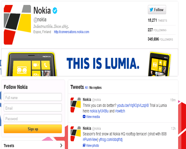 Nokia – General Twitter page