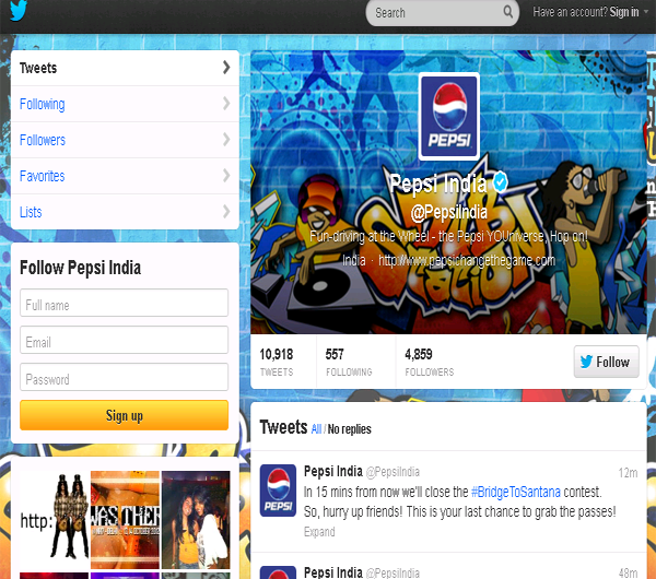 Pepsi – India Twitter page