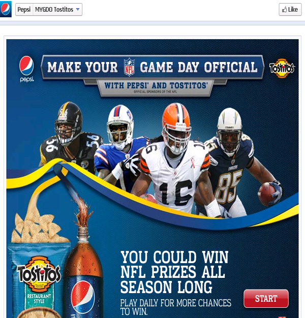 Pepsi Facebook API mediated promotional campaign page