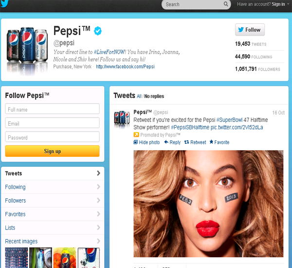 pepsi twitter page